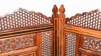 Antique Indian Folding Screen Inlaid Room Divider c.1920 (5 of 6)