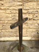 French Bronze Altar Cross Crucifix on Slate Stone Base (5 of 9)