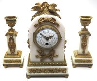 Incredible French White Marble Mantel Clock French 8-day Timepiece Garniture Clock Set (7 of 13)