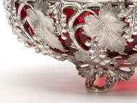 Victorian Silver Plated Basket with the Original Cranberry Glass Liner (3 of 6)
