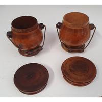 Lovely Pair of Georgian Treen Spice Pots (4 of 6)