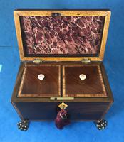 Regency Black Walnut Sarcophagus Twin Section Tea Caddy (9 of 11)