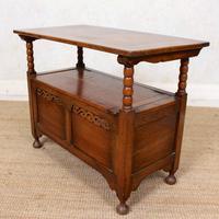 Oak Monks Bench Settle Carved Folding Hall Arts & Crafts (5 of 12)