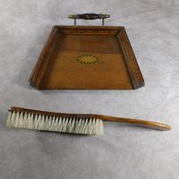 Edwardian Oak Crumb Tray & Brush (4 of 6)