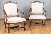 Pair of Large French Walnut & Parcel-Gilt Armchairs (2 of 10)