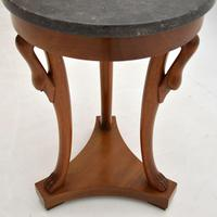 Neoclassical Style Walnut Marble Top Side Table (5 of 8)