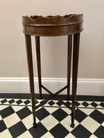 Small Antique  Wine or Candle Table With Galleried Top & Pull Out Shelf (8 of 13)