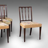 Set of 4 Antique Embroidered Chairs, English, Dining Seat, after Sheraton, 1780