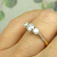Vintage Art Deco 18ct Platinum Diamond Trilogy Engagement Ring 0.70ct c.1930 (5 of 9)