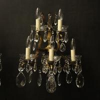 French Pair of Bronze & Crystal 5 Arm Antique Wall Lights (2 of 10)