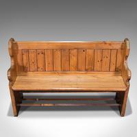 Antique Bench Seat, English, Pine, Pew, Ecclesiastic Taste, Victorian c.1900 (8 of 12)