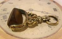 Antique Pocket Watch Chain Fob 1870s Victorian Huge Brass & Amber Stone Swivel Fob (8 of 10)