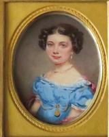 Miniature Portrait Young Girl in Period Frame C.1860 (2 of 5)