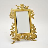 Antique Art Nouveau Brass Table Top Mirror / Picture Frame