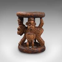 Antique Ceremonial Yoruba Stool, West African Hardwood Side / Lamp Table c.1900 (11 of 12)