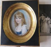Hand Painted Miniature Portrait Young Girl c.1920