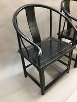 Pair Chinese ebonised horseshoe chairs (5 of 11)