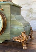 Elegant Tall 19th Century French Gilt Metal & Onyx Garniture Mantel Statue Clock Set (12 of 13)