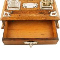Victorian Oak Inkwell Stand (5 of 7)