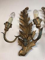 Pair of Vintage Florentine Giltwood Wall Lights (5 of 10)