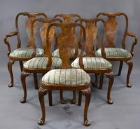Queen Anne Style Burr Walnut Table & Chairs c.1920 (4 of 22)