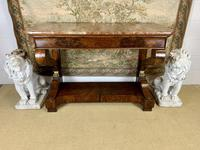 Regency Burr Walnut Console Table with Marble Top (2 of 9)