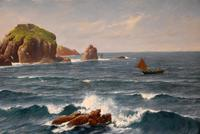 """Oil Painting by David James """"A Cornish Coastal View"""" (4 of 8)"""