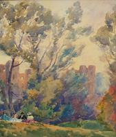 Outstanding 20thc Signed Autumn Landscape Castle Ruin Watercolour Painting (5 of 11)
