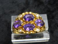 18ct Gold Amethyst & Pearl Ring (5 of 6)