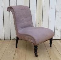 Antique French Slipper Fireside Chair For Re-upholstery (9 of 9)