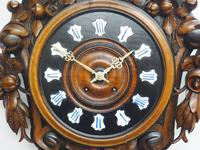 Rare Antique French Carved Dial Wall Clock 8 Day Movement Dial Black Forest Design (6 of 10)