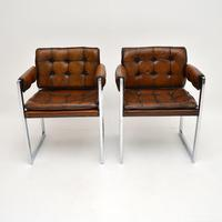 Pair of Vintage Leather & Chrome Armchairs (2 of 15)