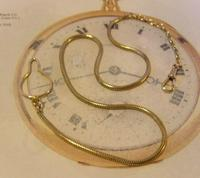 Vintage Pocket Watch 1940s Long 12ct Rolled Gold Snake Link Albert With Button Clip (2 of 12)