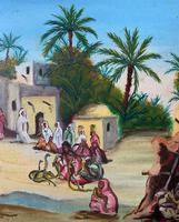 The Snake Charmer - Moroccan School - Vintage - 1960s - Original Oil Painting (7 of 11)