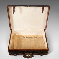 Antique Suitcase, English, Leather, Salesman, Banker, Travel Case, Edwardian (10 of 12)