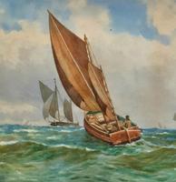 Att: William Boyce 19th Century Sailing Smack Seascape Watercolour Painting (4 of 11)