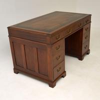Georgian Style Mahogany Leather Top Pedestal Desk (3 of 12)