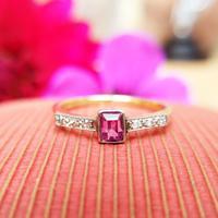 Antique Art Deco 18ct Gold Pink Sapphire & Diamond Ring