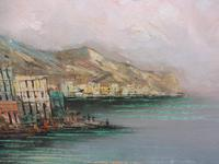 Large Oil on Canvas Italian Rivera Signed 1960s (7 of 10)