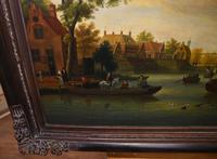 Pair Antique Dutch Oil Paintings Boat Scenes Riverscape 1860 (7 of 12)