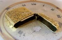 Antique Pocket Watch Chain Vesta Case Fob 1890s Victorian Large Chunky Brass Fob (6 of 9)