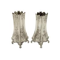 """Pair of Antique Victorian Sterling Silver 5 1/2"""" Vases 1895/1896"""