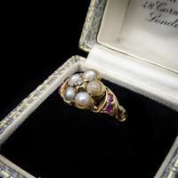 Antique Pearl Ruby & Diamond Cluster 18ct Gold Ring (3 of 9)