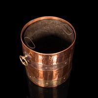Antique Fireside Bin, English, Copper, Brass, Decorative, Scuttle, Edwardian (9 of 12)