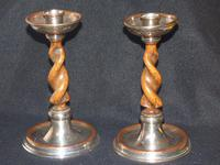 Pair of Barley Twist Silver Plated Candlesticks by Connell, 83 Cheapside