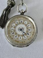 Pretty Silver Ladies Fob Watch & Fob c.1890 (2 of 9)