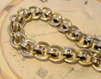 Antique Pocket Watch Chain 1920s Large Chrome Fancy Link Albert with Big Bolt Ring (4 of 12)