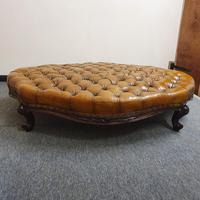Deep Buttoned Leather Rosewood Stool (5 of 8)