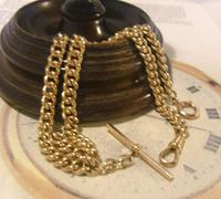 Antique Pocket Watch Chain 1890 Victorian 12ct Rose Gold Filled Albert With T Bar (4 of 12)