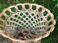 Pair of Fine Antique Edwardian Garden Cast Iron Lattice Urn Planters on 3 Lion Feet (9 of 12)